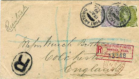 Figure 2:  Boston registry label on cover from Jamaica to England, 1899.